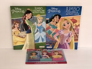 New-2-Disney-Princess-Coloring-Activity-Books-3pk-Crayons-Mulan-Rapunzel