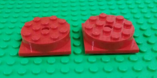 Lego Red Turntables 4x4 Stud Swivel Spin Round Large Square Base 2 pieces