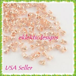 100pc Lt Rose Gold Clamshell End Bead Caps Tips 6x3.5mm Crimps Jewelry Findings