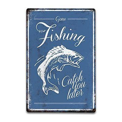 """Fishermans Anglers /""""Gone Fishing/"""" Hanging Door Home Sign Plaque Dad Grandad Gift"""