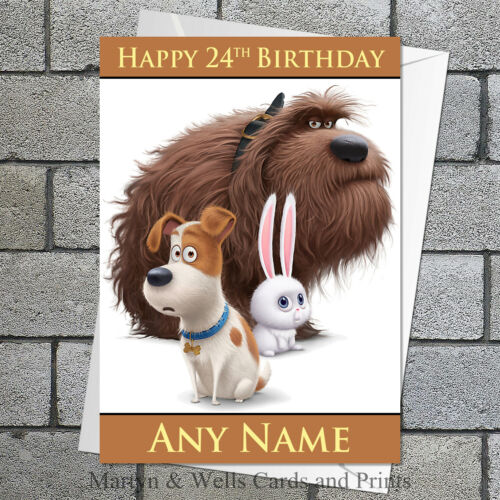 Personalised 5x7 inches plus envelope. Secret Life of Pets birthday card