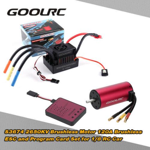 120A ESC GoolRC S3674 2650KV Brushless Motor Program Card for 1//8 RC Car L8L0