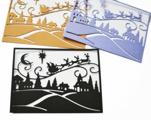 4x Christmas Paper Die Cuts Flying Santa Deer Village Cardmaking Paper Craft DIY