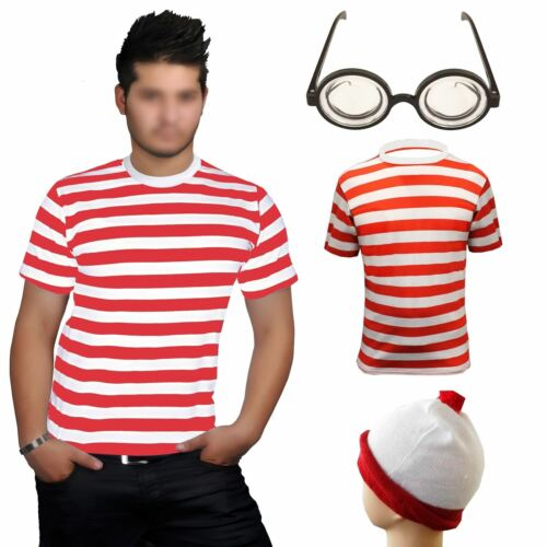 Mens Red White Stripe Wally Fancy Dress Adult World Book Day Hen Party Costume
