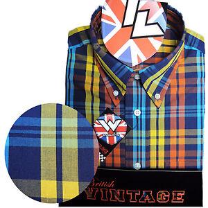 Warrior-Short-Sleeve-Button-Down-Shirt-STAX-Mod-Skinhead-Orange-Yellow-Blue