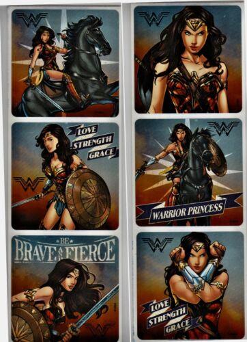 "12  Wonder Woman Stickers 2.5"" x 2.5/"" Party Favor Stickers FOIL"