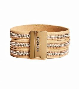 guess womens gold brown faux suede leather rhinestone cuff bracelet