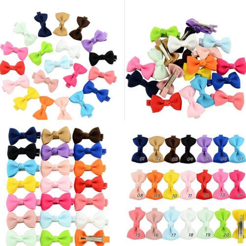 20Pcs Hair Bows Band Boutique Alligator Clip Grosgrain Ribbon Girl Baby Kids BH