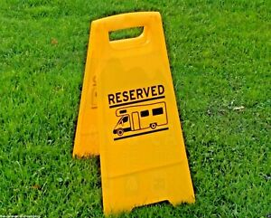 Motorhome Reserved Pitch Sign - Campervan Pitch Reserved Sign  -  Yellow
