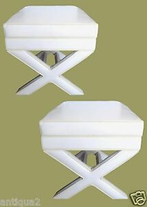 Amazing Details About Pair White Faux Leather Baughman Era Modern X Form Upholstered Stools Benches Cjindustries Chair Design For Home Cjindustriesco