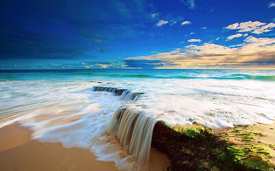 "Landscape Nature Sea Ocean Motivational Fabric poster 21""x13"""