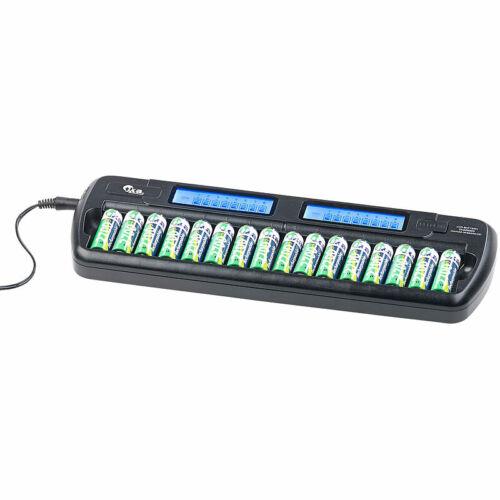 tka Ladegerät für 16 AA(A)-Akkus, 2 LCD-Displays, Einzelschacht-überwacht