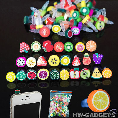 10x Fruit Anti Dust Cap Earphone 3.5mm Jack Dust Plug For iPhone Samsung HTC