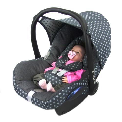 BAMBINIWELT Ersatzbezug Babyschale Maxi-Cosi CabrioFix STERNE DUNKELGRAU