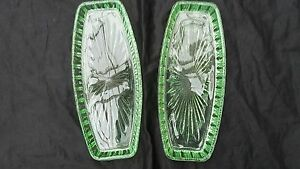 Vintage-Depression-Glass-Green-Long-serving-Tray-Platter-Dish-x-2