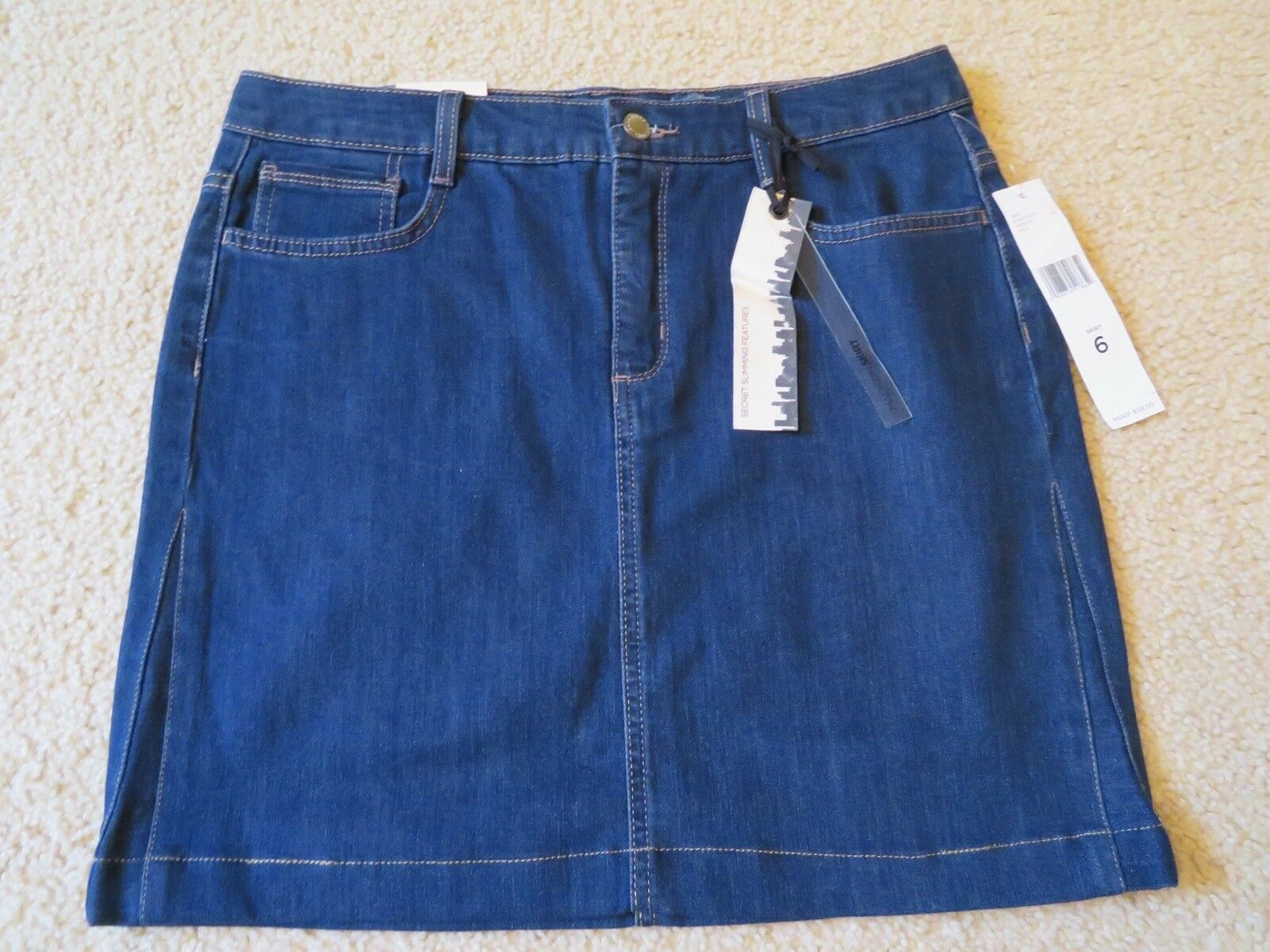 "New Women's Jones New York Jeans ""Madison"" bluee Jean Denim Mini Skirt Size 6"