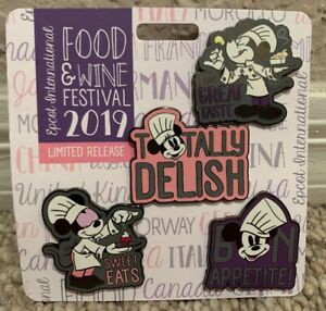EPCOT 2019 Food And Wine Festival Chef Mickey and Minnie Pin Set of 4