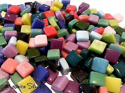 Glass Opaque Squares 12x12mm - 400 Grams - Mixed