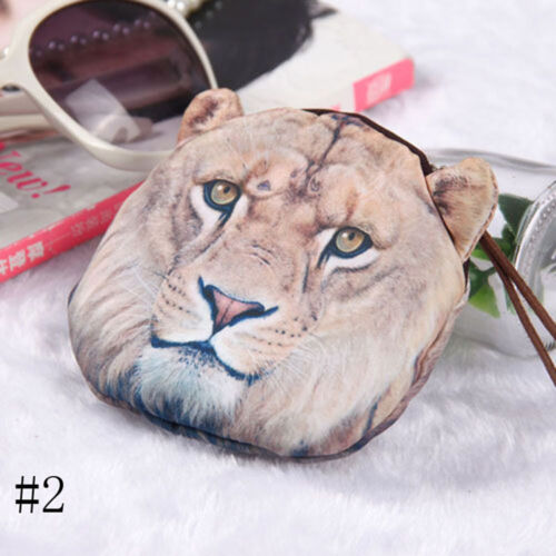 Animal Wallet mignon Léopard Tigre Zipper Sac Porte-monnaie Lion Visage