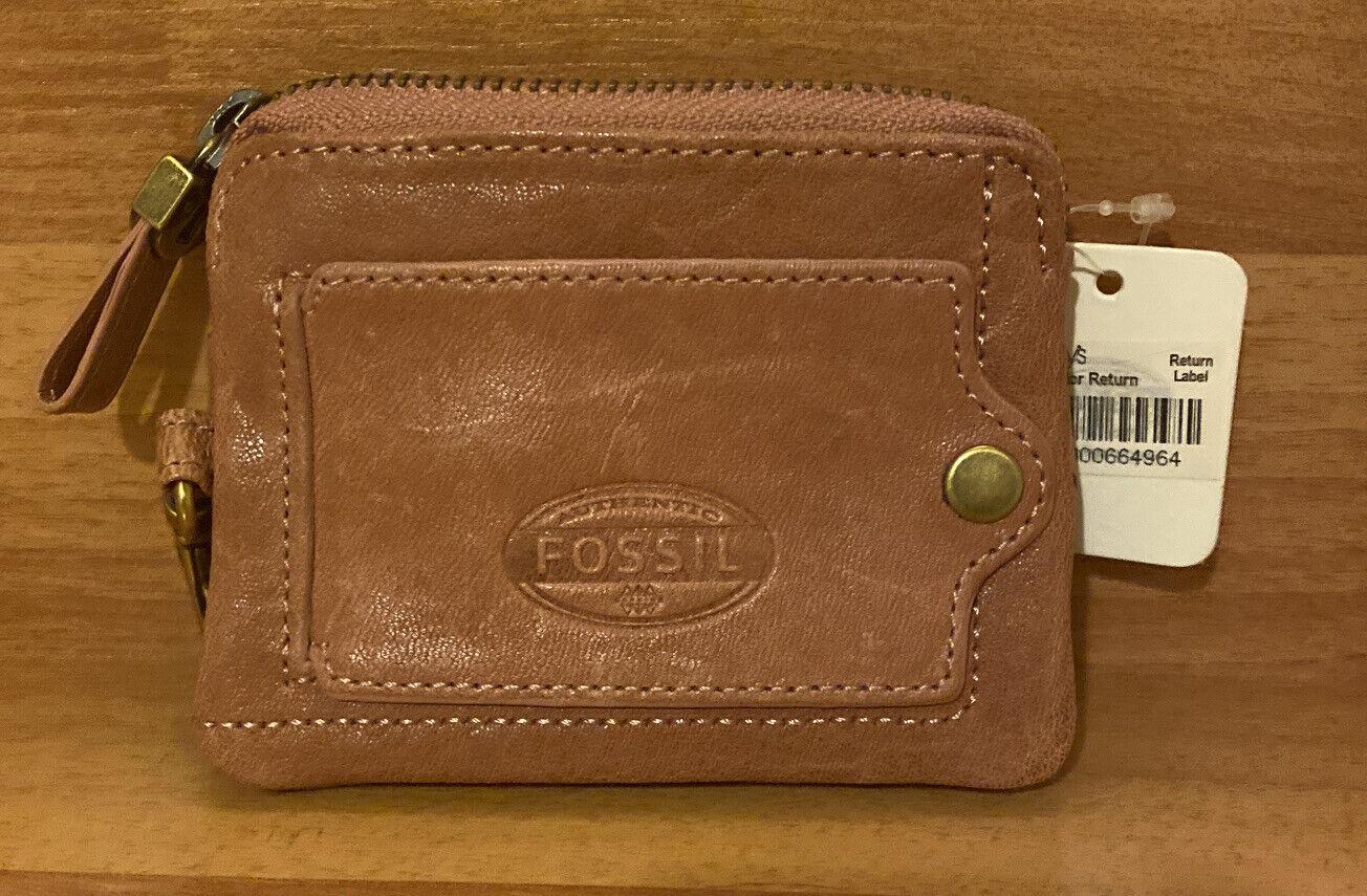 "New Fossil Mini Coin Purse Wallet Tan Leather & Brass 4.5"" Bird Theme"