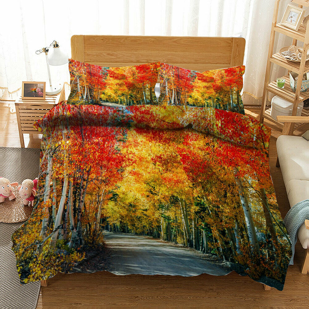 Great Maple Road 3D Quilt Duvet Doona Cover Set Single Double Queen King Print
