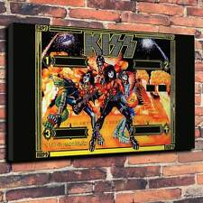"Kiss Pinball Back Glass Printed Canvas A1.30""x20""~Deep 30mm Frame Mancave V2"