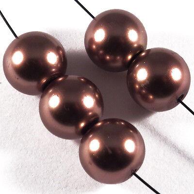 20 perles Nacrées 10mm Marron verre de Bohème