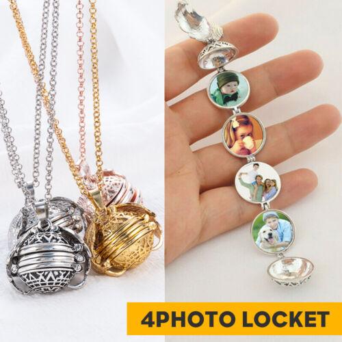Expanding 4 Photo Pendant Memory Floating Locket Angel Wings Flash Box Necklace