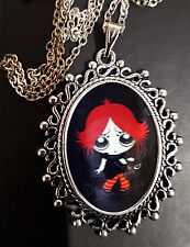 Ruby Gloom + Doom Kitty Cat Antique Silver Pendant Necklace Goth Steampunk
