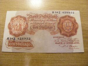 A Red Ten Shillings Banknote P S Beale R54Z 428922, UNC very crisp