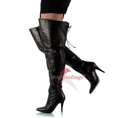 Overknee Stiefel Weitschaft Kalbsleder 10-11 cm Absatz Gr 36-46