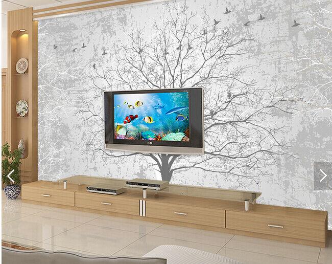 3D Graue Bäume und Vögel 24 Fototapeten Wandbild Fototapete BildTapete Familie
