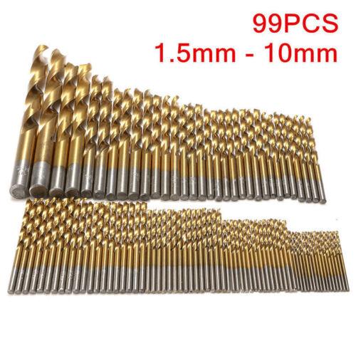 New 99 Pcs//Set Titanium Coated Hss Twist Drill Bits Metric System 1.5mm-10mm
