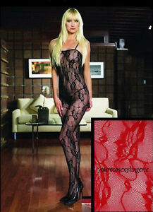 Plus Size ROSE LACE BODYSTOCKING Deep-V HALTER Crotchless SILVER TRIM QUEEN