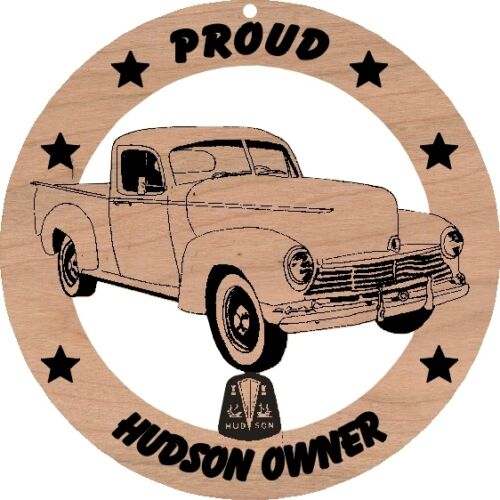 Hudson Pickup Truck Sedan Red Alder Wood Ornament Laser Engraved