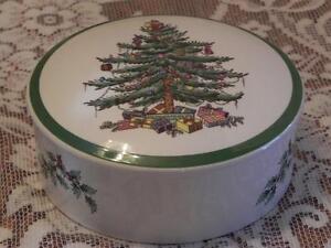 Spode Christmas Tree Lidded Bowl/Dish Trinket Box Made in England   eBay
