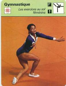 FICHE-CARD-Nellie-Nelly-Kim-URSS-Exercices-Sol-Floor-Exercis-Gymnastics-1970s-B