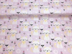 Polycotton Fabric NEW Crafts CAT BLUE  FELINE Metre Material Special Offer