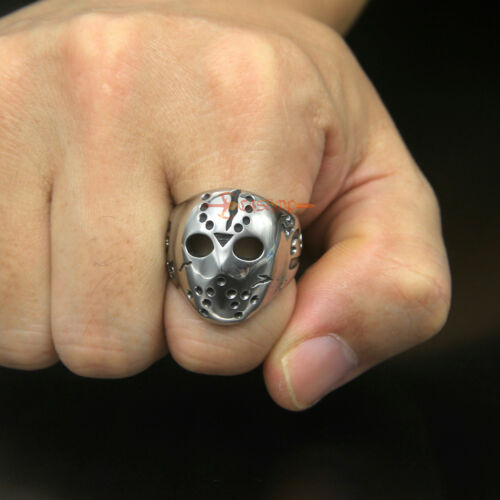 Men/'s Jason Voorhees Friday The 13th Hockey Mask Stainless Steel Biker Ring