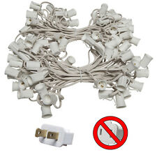100 Ft C7 Christmas Light Stringer White Wire Indoor/Outdoor Patio 100-Socket