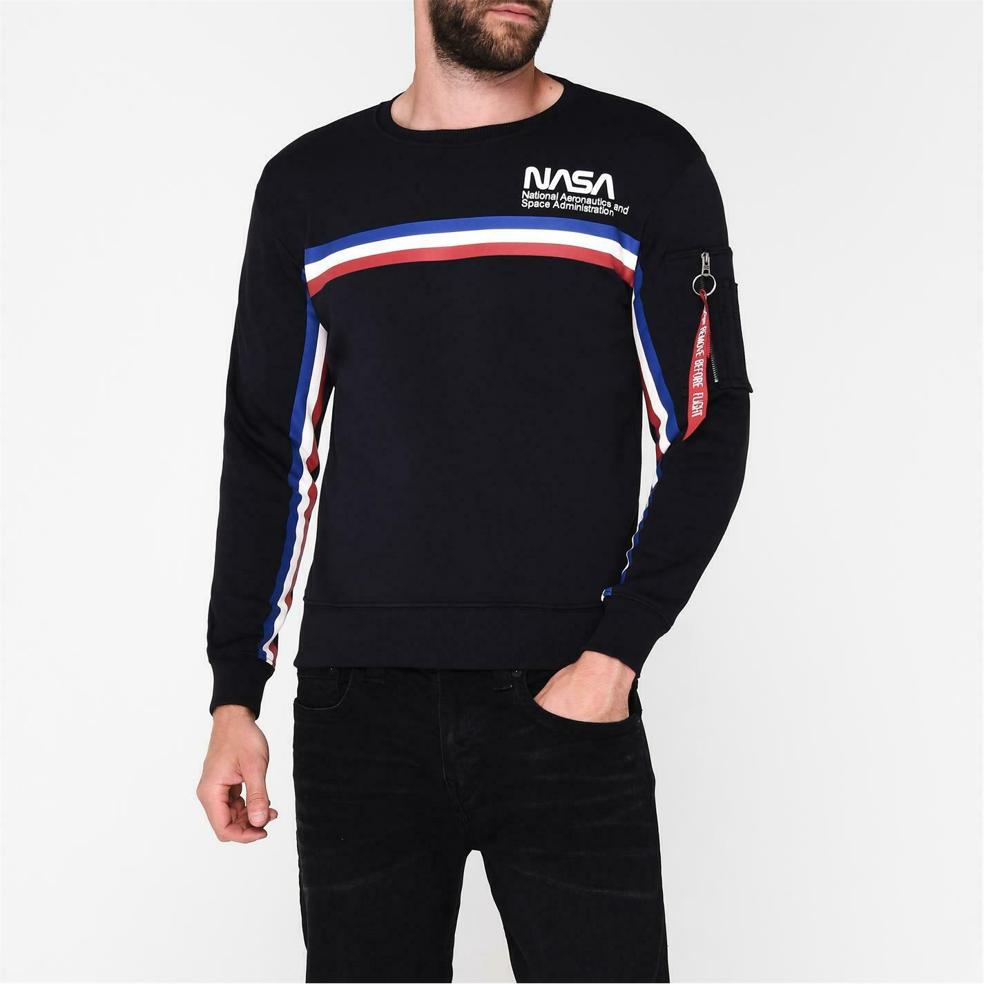 Mens Alpha Industries ISS Sweater Crew Long Sleeve New