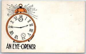 Vintage-Greetings-Comic-Postcard-034-AN-EYE-OPENER-034-Alarm-Clock-c1900s