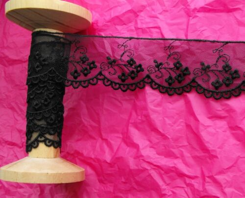 45mm Black Embroidered Tulle Scallop Edge Flower Lace Ribbon Trim Metre