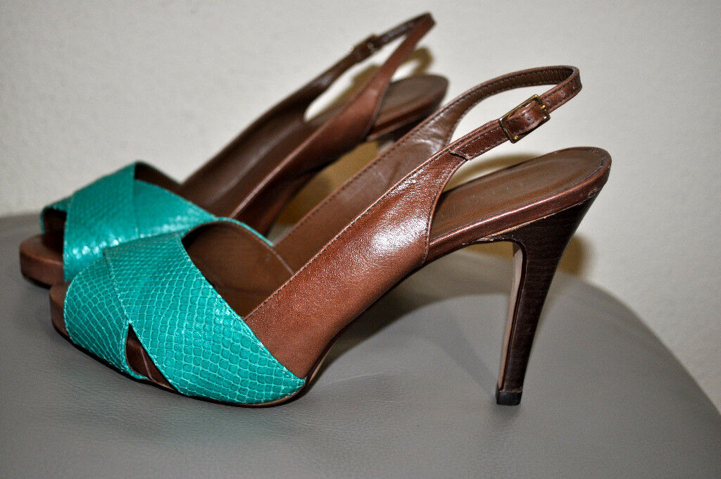 INUIT BROWN LEATHER SLINGBACK HEELS WITH DARK AQUA SNAKESKIN FRONT SIZE 6M