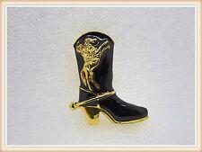 Beautiful Cowboy Boot Brooch,Horse,Rider,Black,Gold,Gift Idea,Fashion,Men,Women