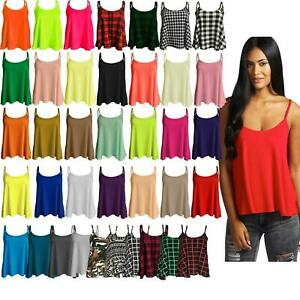 Womens-Ladies-New-Camisole-Cami-Plain-Strappy-Swing-Vest-Top-Flared-Sleeveless