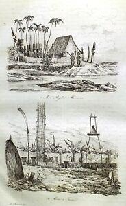 HAWAII-OAHU-HONOLULU-COOK-Original-1834-Antique-Prints-set-of-11