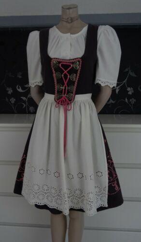 German Vintage Dirndl Dress + Blouse + Apron 6-8