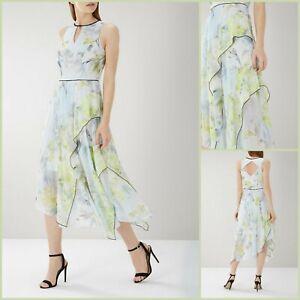 Coast Midi Kleid Größe 8   gelb Flo Print Style   OVP   139 £ UVP   BRANDNEU!