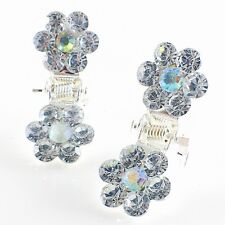 MINI Hair Claw Clip Rhinestone Crystal Hairpin Bridal Wedding Flower Silver 01